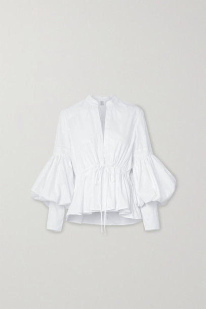 Rosie Assoulin - Lantern Oversized Cotton-blend Poplin Peplum Blouse - White