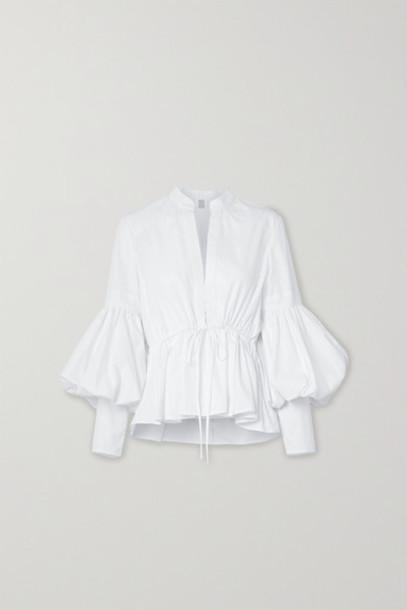 Rosie Assoulin - Lantern Oversized Cotton-blend Poplin Peplum Blouse - White