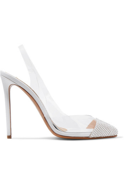 Alexandre Vauthier - Amber Ghost Crystal-embellished Leather And Pvc Slingback Pumps - White