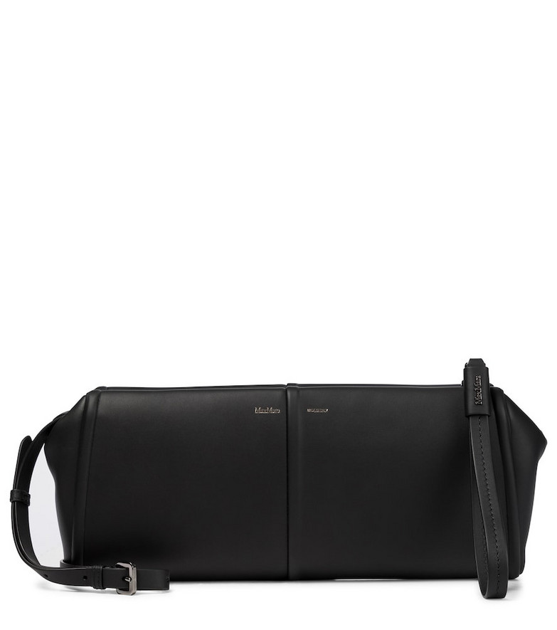 Max Mara Elsap Small leather clutch in black