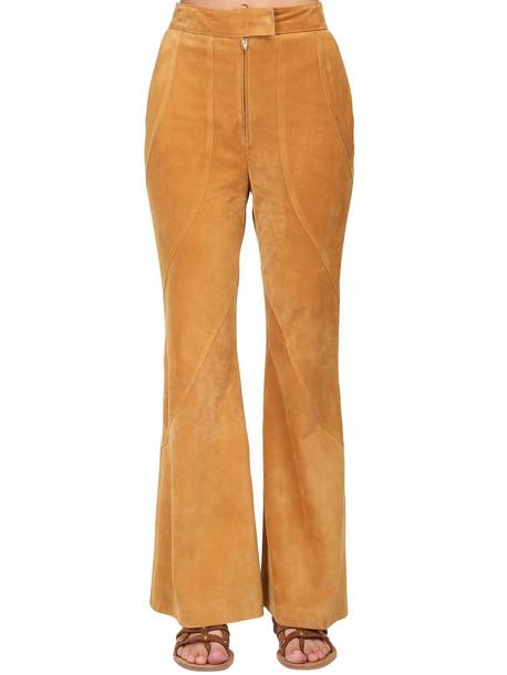 ALBERTA FERRETTI High Waist Suede Pants in beige