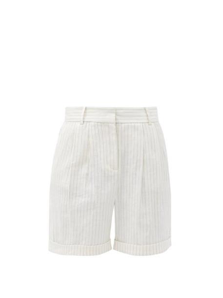 Frame - Striped Linen-blend Shorts - Womens - White
