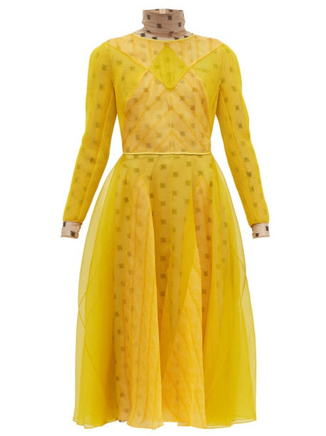 Fendi - Ff Embroidered Organza And Mesh Midi Dress - Womens - Yellow
