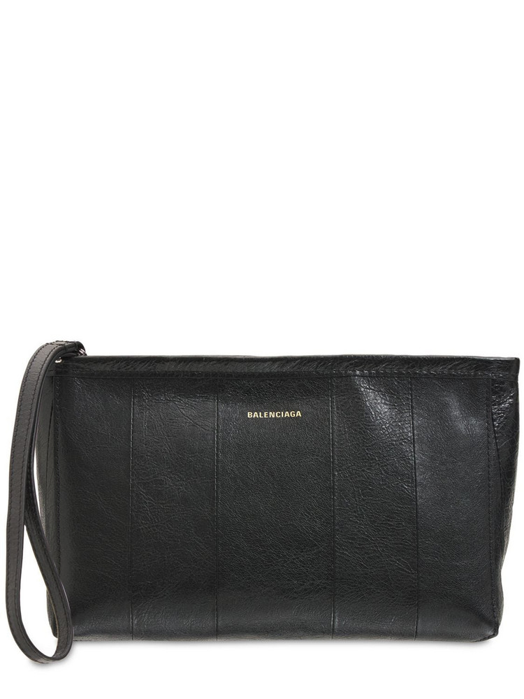 BALENCIAGA Barbes Leather Pouch Bag in black