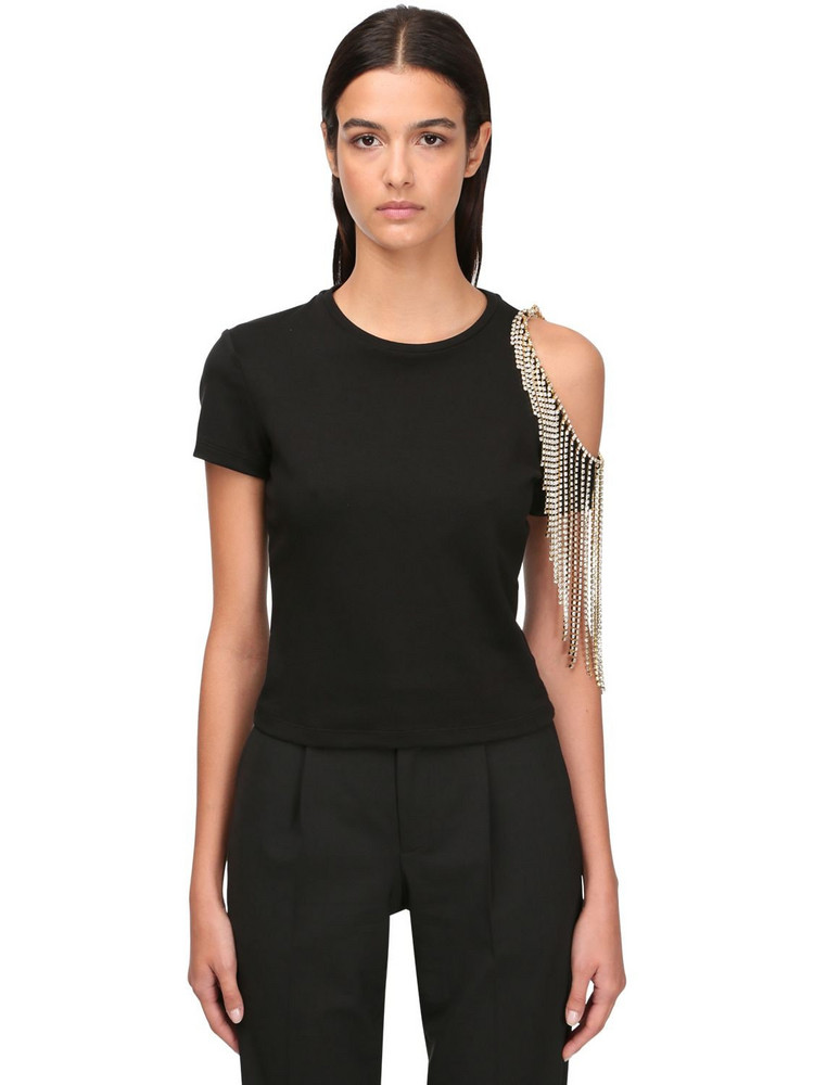 AREA Embellished Jersey T-shirt in black