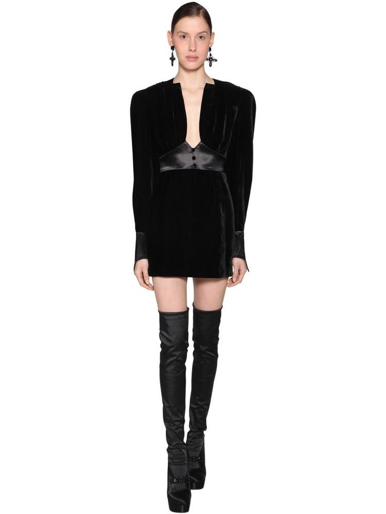 OLIVIER THEYSKENS Empire Waist Viscose Velvet Mini Dress in black