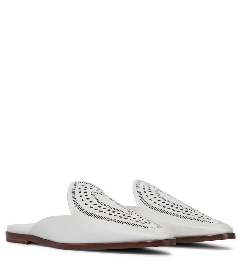 Alaïa Leather slippers in white