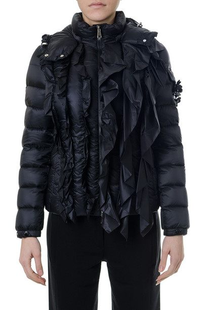 Moncler Genius Black Down Jacket With Frontal Ruffles
