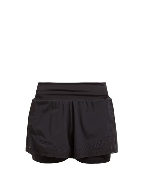 Adidas By Stella Mccartney - Double Layer Stretch Shorts - Womens - Black