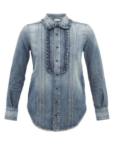 Saint Laurent - Frilled Cotton-denim Shirt - Womens - Denim