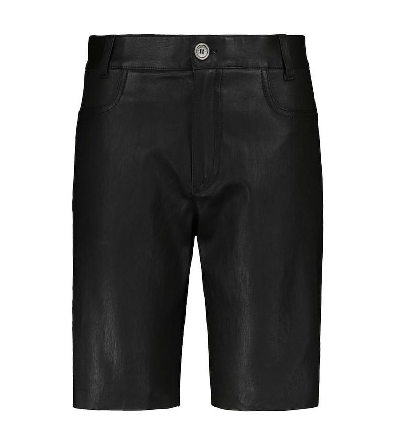 Stouls Sofiane leather Bermuda shorts in black