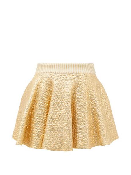 Valentino - High-rise Coated Wool-blend Mini Skirt - Womens - Gold