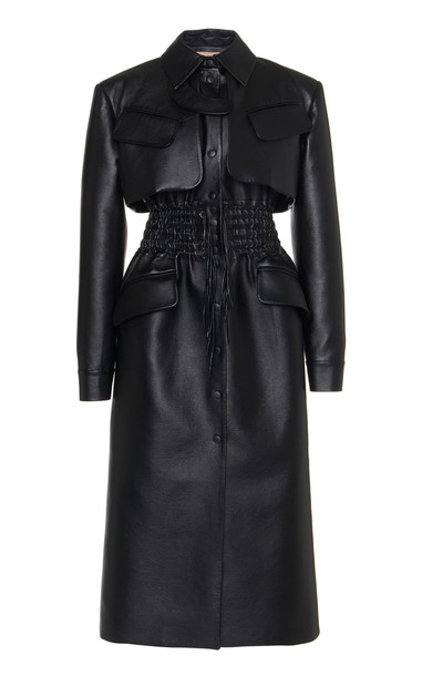 MATÉRIEL Faux Leather Cargo Coat in black
