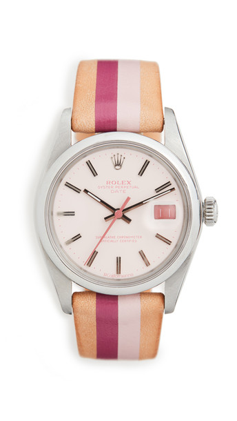 La Californienne Rolex Oyster Perpetual Date Stainless Steel Watch in pink