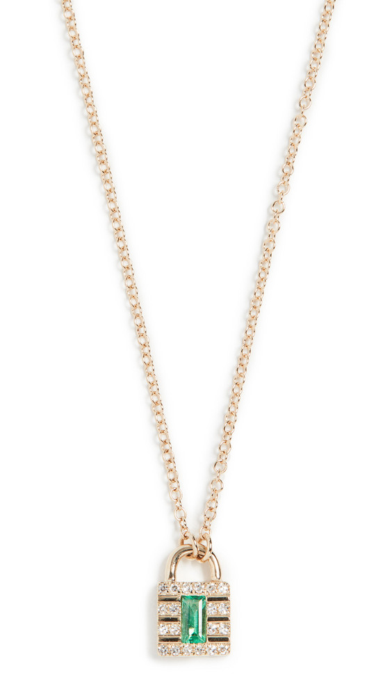 EF Collection 14k Mini Diamond Lock Necklace in gold / emerald / yellow