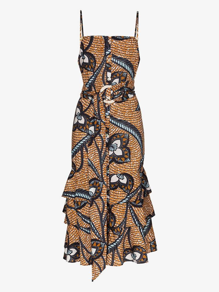 Figue Marina printed cotton slip dress in blue