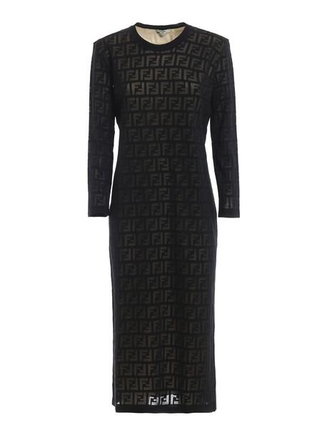 Fendi Ff Devore Dress in black
