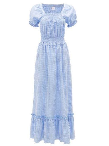 Loretta Caponi - Stefiana Gingham Shirred Puff-sleeve Cotton Dress - Womens - Blue Print