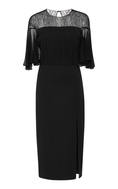 Cushnie Cate Lace And Jersey Midi Dress Size: 12 in black