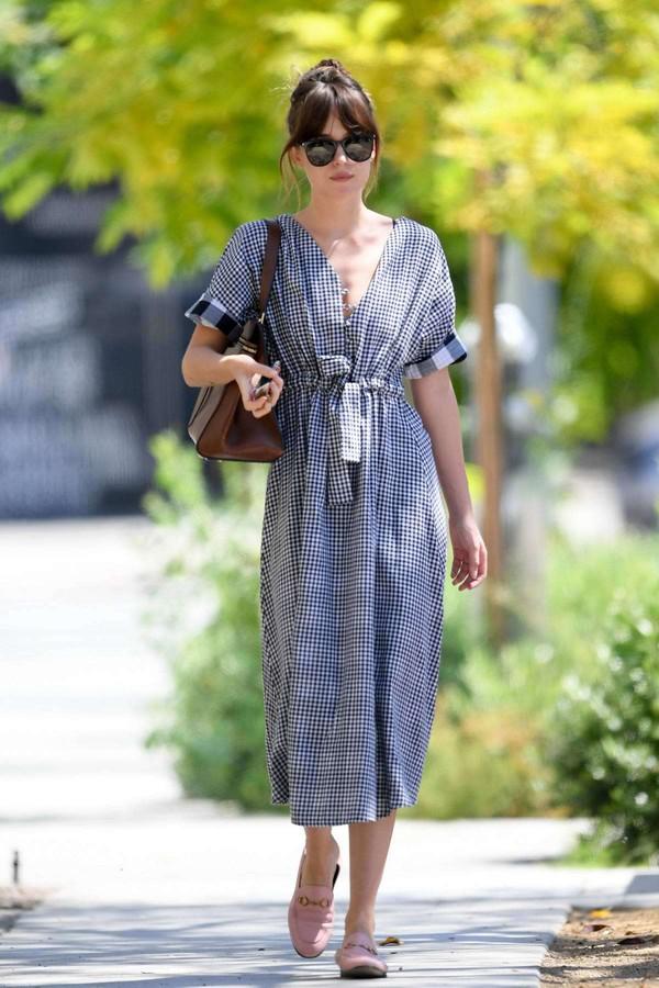 dress grey grey dress dakota johnson midi dress celebrity