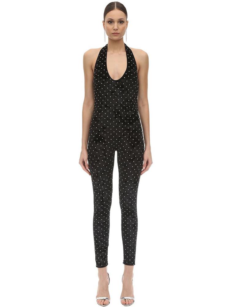 AMEN Embellished Velvet Jumpsuit in black
