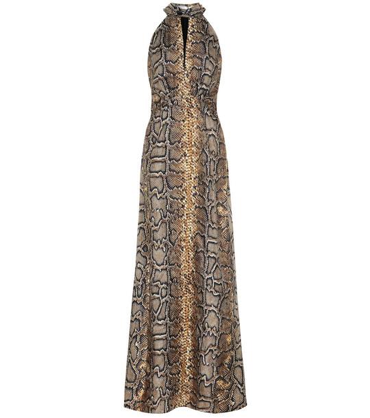 Victoria Beckham Snakeskin-print silk-twill gown