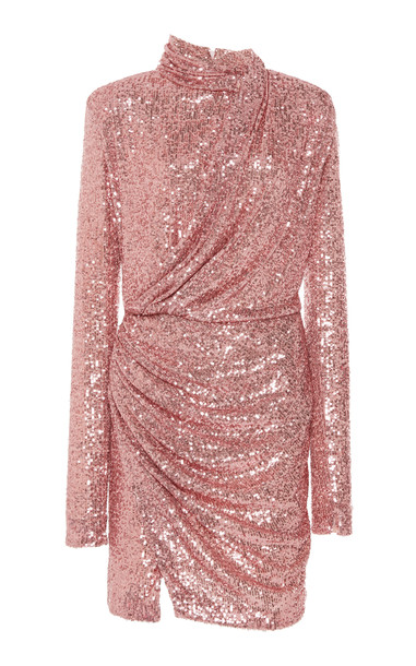 Redemption Paillettes Draped Mini Dress High Neck in pink