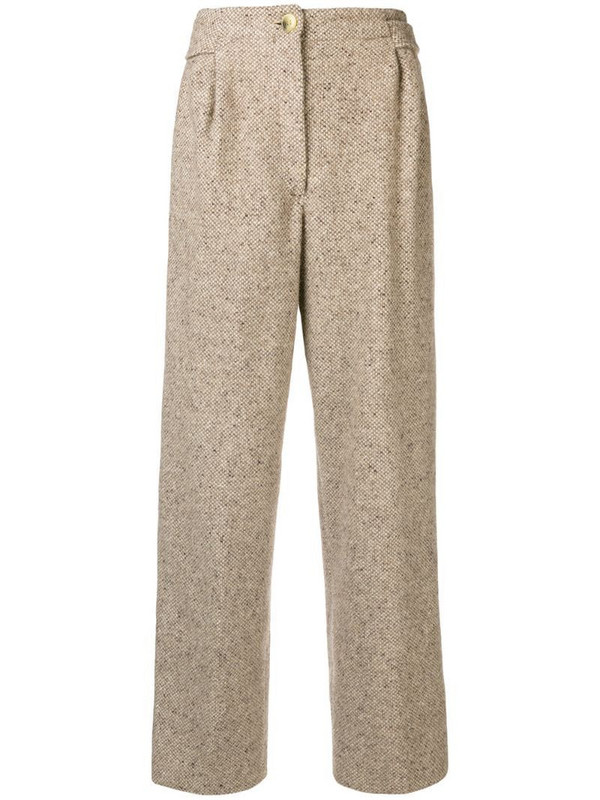 Gianfranco Ferré Pre-Owned high rise straight trousers in neutrals