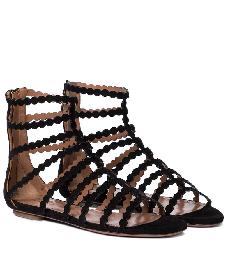 Alaïa Laser-cut suede sandals in black