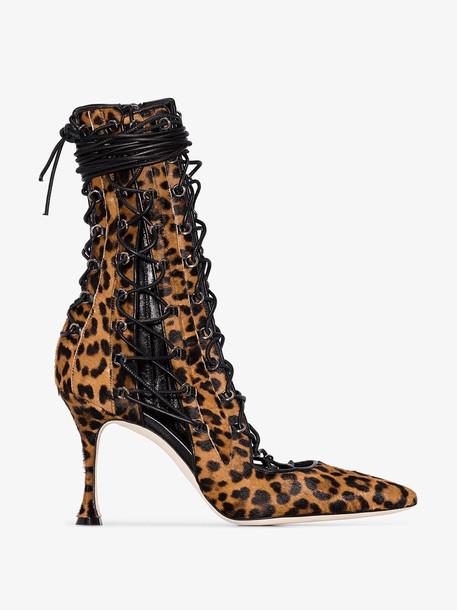 Liudmila Brown Drury Lane 100 leopard print boots