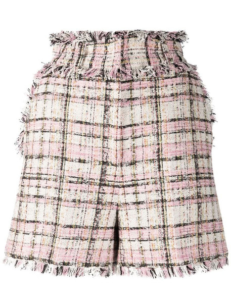 MSGM frayed tweed shorts in pink