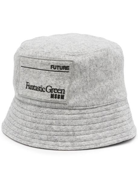 MSGM embroidered-logo bucket hat - Grey