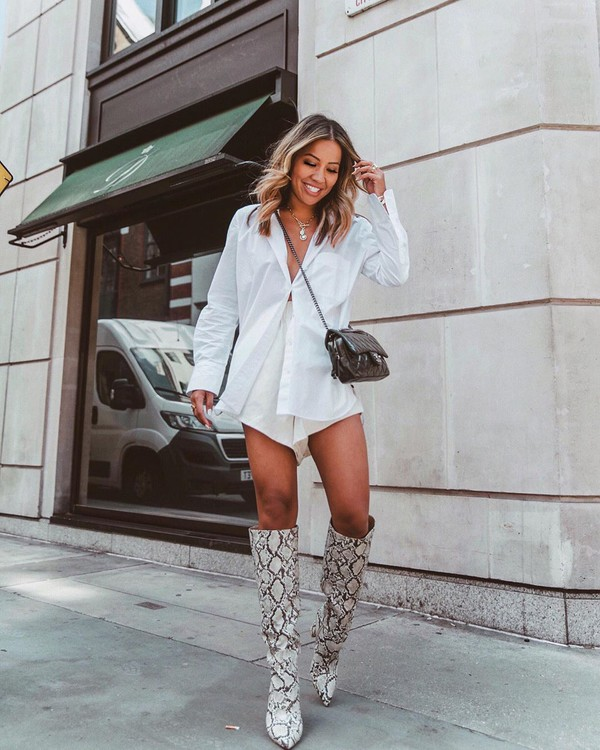 shorts High waisted shorts white shorts white sneakers knee high boots snake print black bag