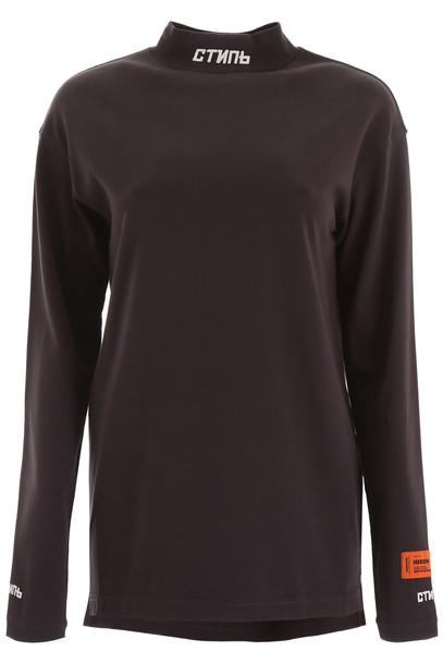 HERON PRESTON Long-sleeved T-shirt in brown / grey / white
