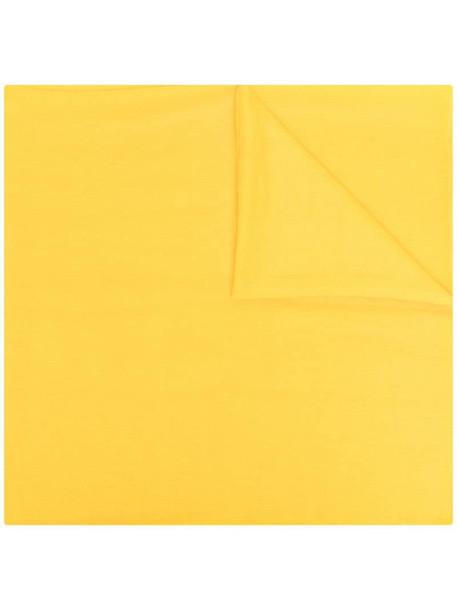 Hermès finished logo-print scarf in yellow