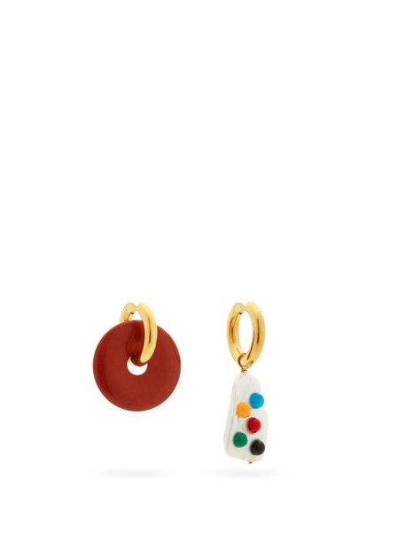 Timeless Pearly - Mismatched Pearl & 24kt Gold-plated Hoop Earrings - Womens - Multi