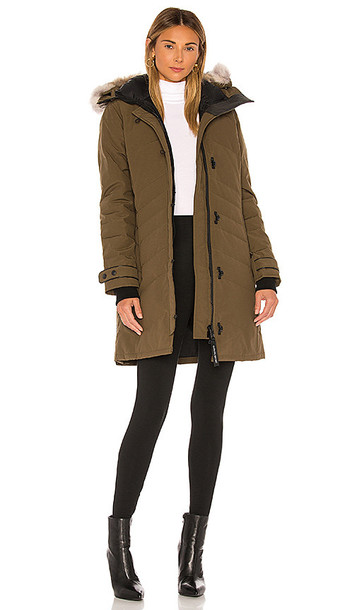 Canada Goose Lorette Parka with Removable Fur Ruff in Green