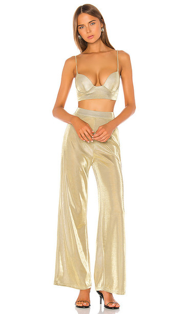 superdown Miranda Pant Set in Metallic Gold