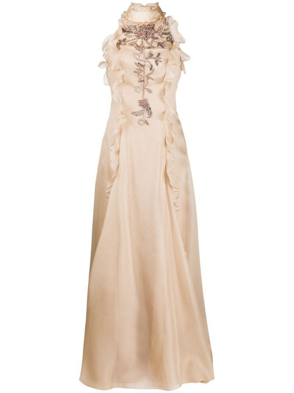 Parlor sequin-embellished silk evening gown in neutrals