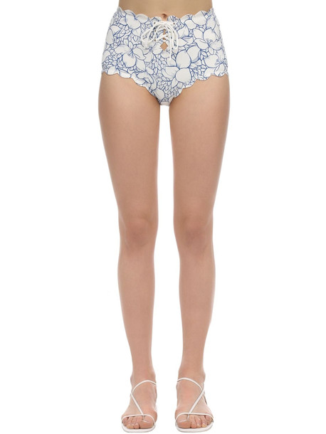 MARYSIA High Waist Riviera Printed Bikini Bottom in blue / white