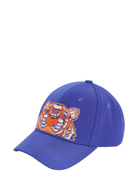 KENZO Lion Embroidered Nylon Baseball Hat in blue