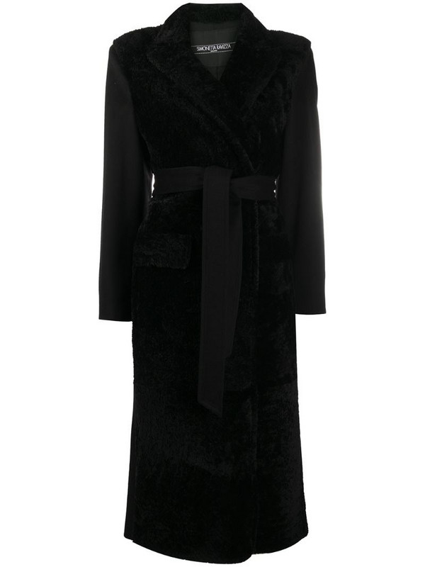 Simonetta Ravizza belted shearling coat in black