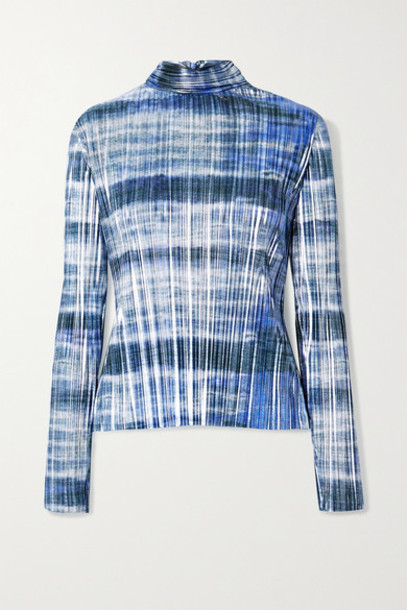 SemSem - Tie-dyed Plissé-lamé Turtleneck Top - Blue