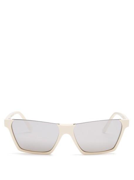 Celine Eyewear - Rectangular Frame Acetate Sunglasses - Womens - Ivory