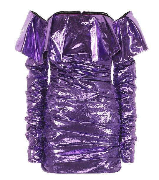 The Attico Metallic minidress in purple
