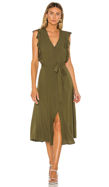 1. STATE Button Front Crosshatch Midi Dress in Olive