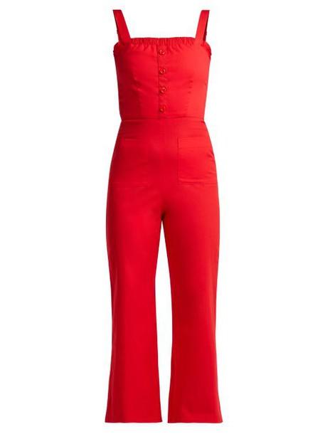 Staud - Sofia Stretch Poplin Jumpsuit - Womens - Red