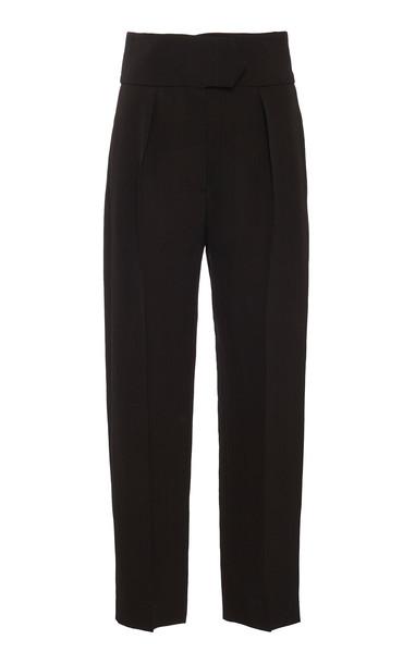 Petar Petrov Halma High-Waisted Cropped Crepe Pants in black