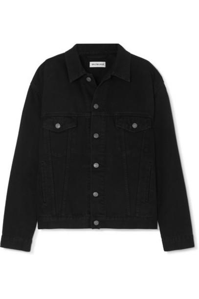 Balenciaga - Oversized Embroidered Denim Jacket - Black