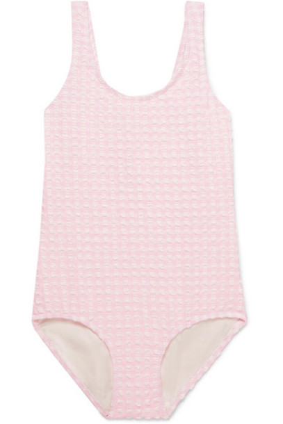 Solid & Striped Kids - Gingham Stretch-seersucker Swimsuit - Pink